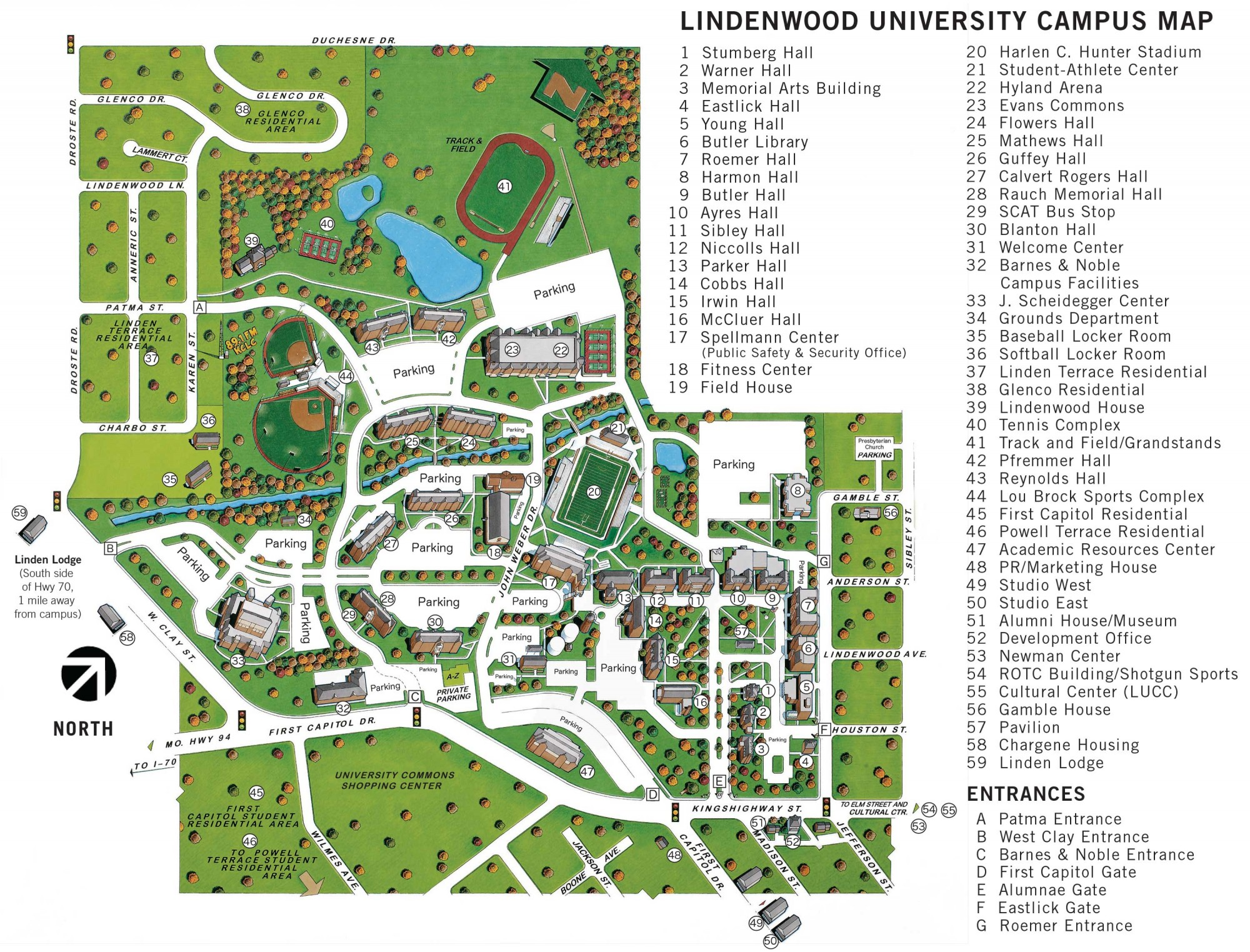 Mid Pacific Institute Campus Map.Campus Map For St Charles Lindenwood University