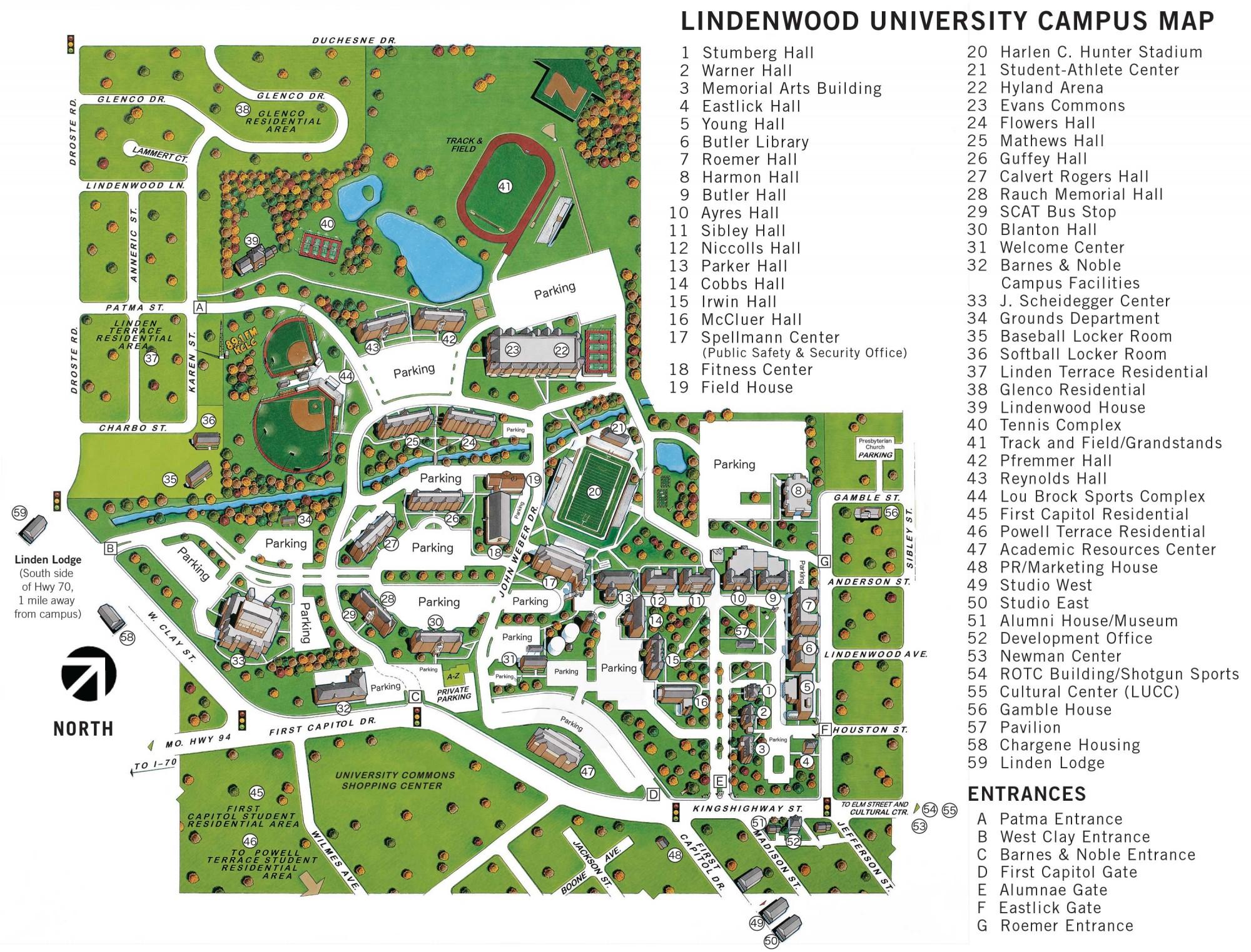 Campus Map for St Charles Lindenwood University