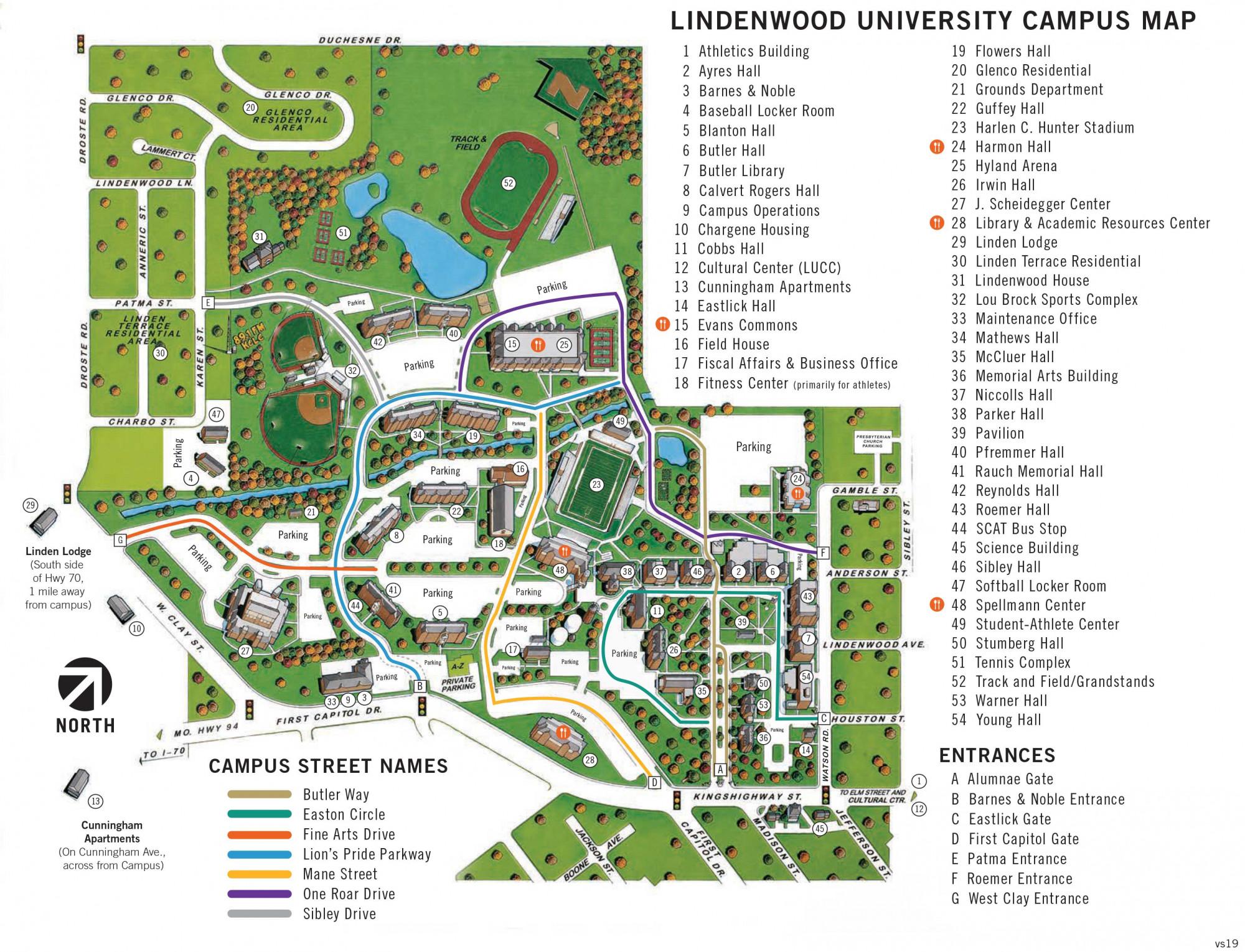 Butler University Campus Map Campus Map for St. Charles | Lindenwood University