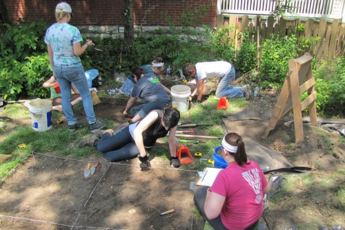 Anthropology Students Excavating at Blanchette Site, Boone Home