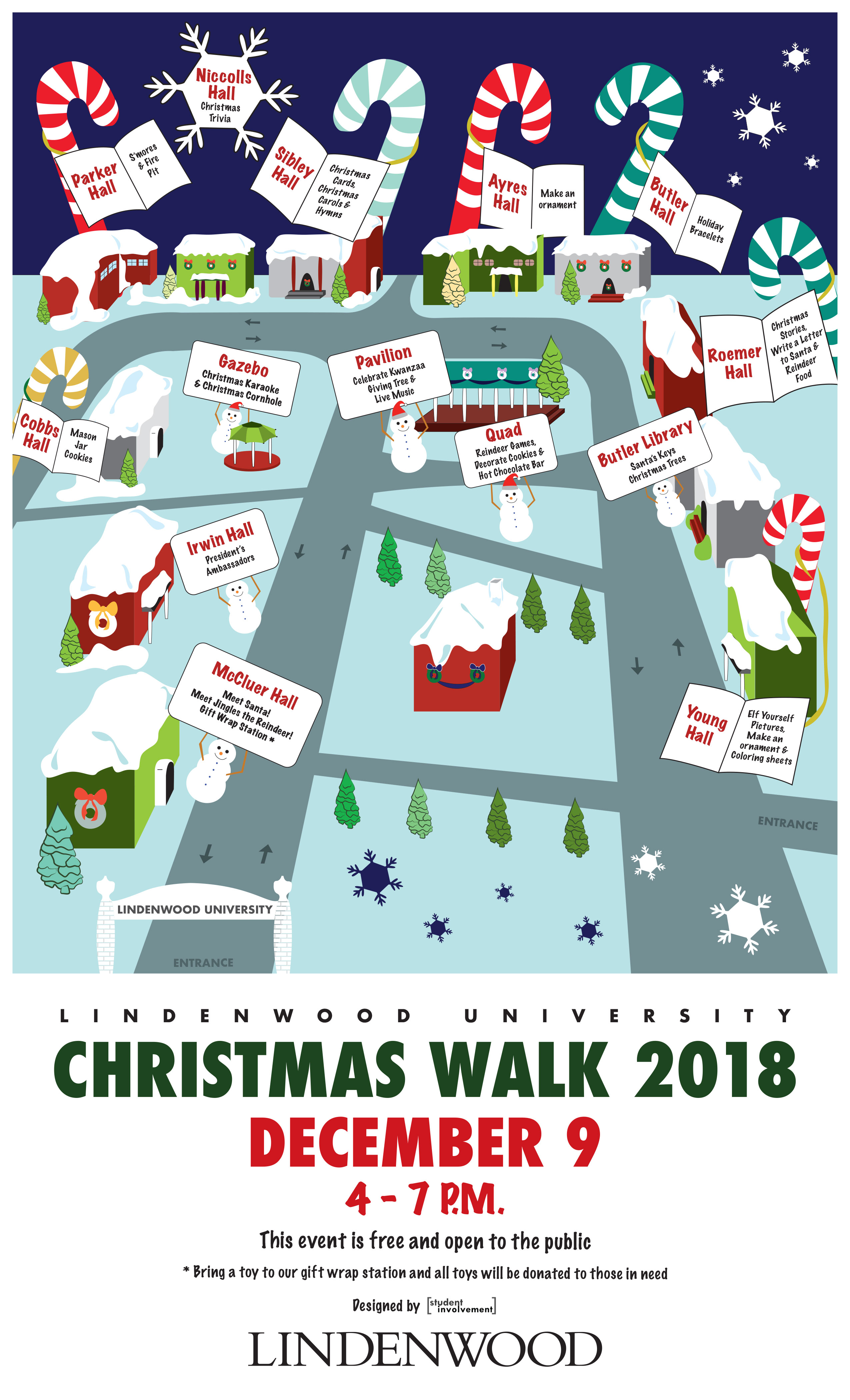 Christmas Walk 2018 Event Flier and Map