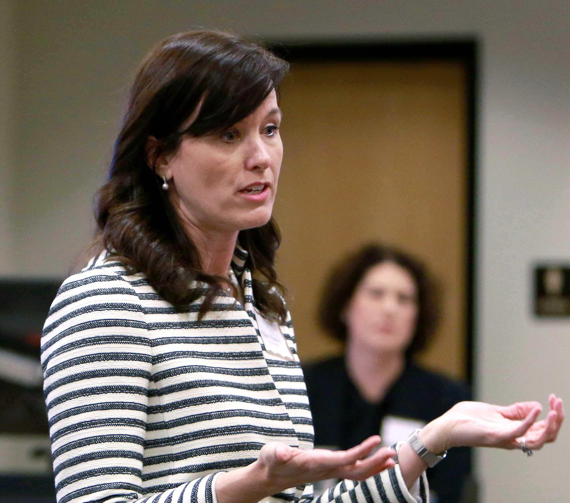 Haley Hanson, a partner at Husch Blackwell, speaks at a recent gathering of Title IX professionals at Lindenwood.