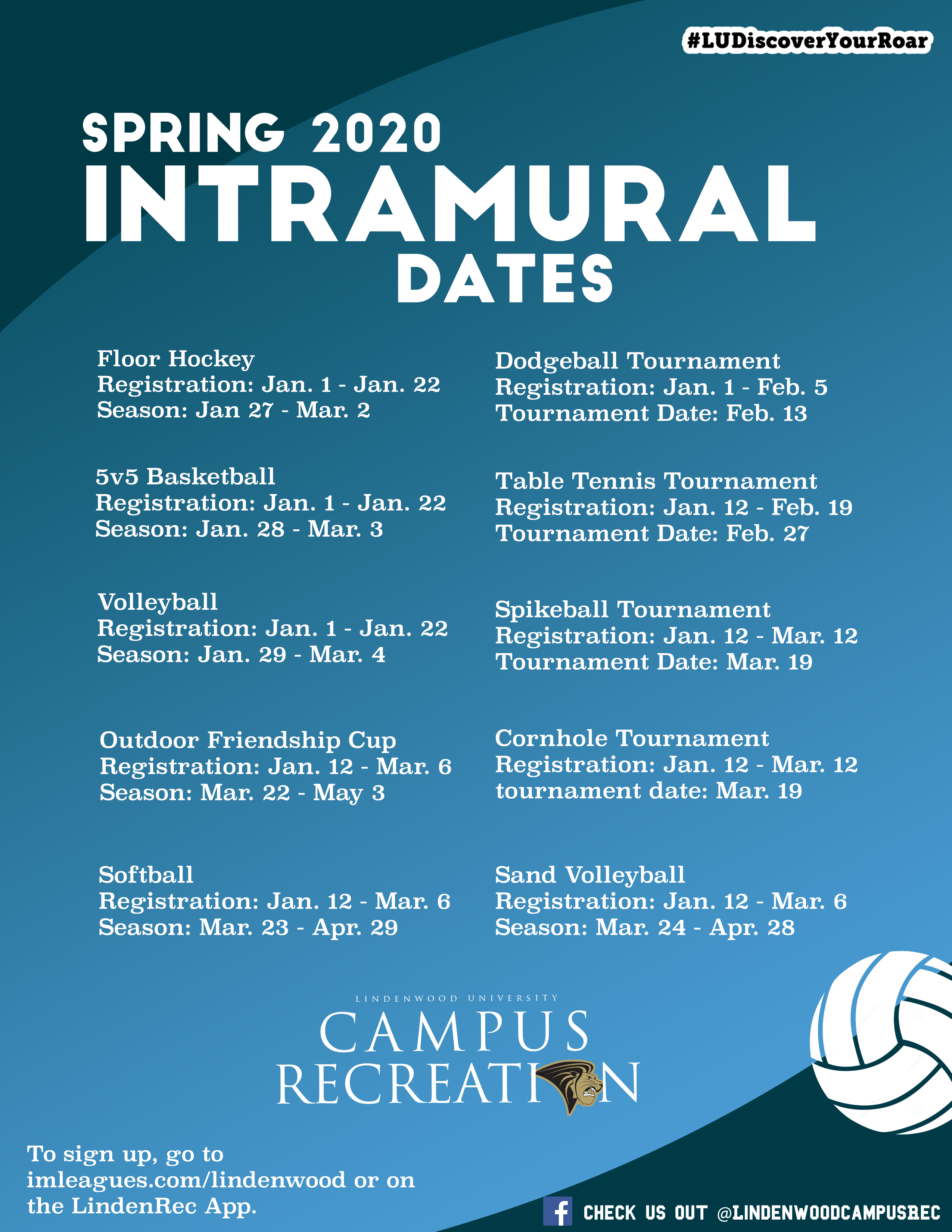 Spring 2020 Intramural Dates Graphic