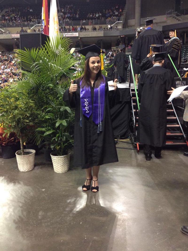 Image of Alissa at her undergraduate graduation ceremony