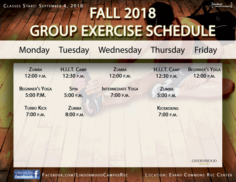 Fall 2018 Group Exercise Schedule