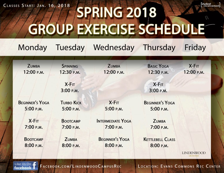 Spring 2018 Group Exercise Schedule