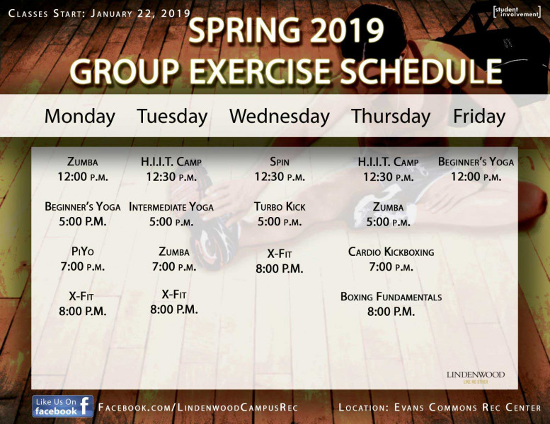 Spring 2019 - Group Exercise Schedule Graphic