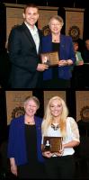 Easton Award winner Jennifer Johnson and Sibley Award winner Adam Peth each pose with Lindenwood Provost Marilyn Abbott