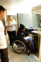 Lindenwood students check accessibility regulations around campus.
