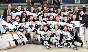 Lindenwood's men ice hockey team celebrates their national title in Bensenville, Ill.