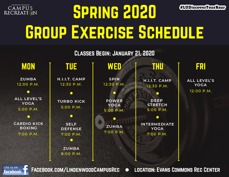 Spring 2020 - Group Exercise Schedule Graphic