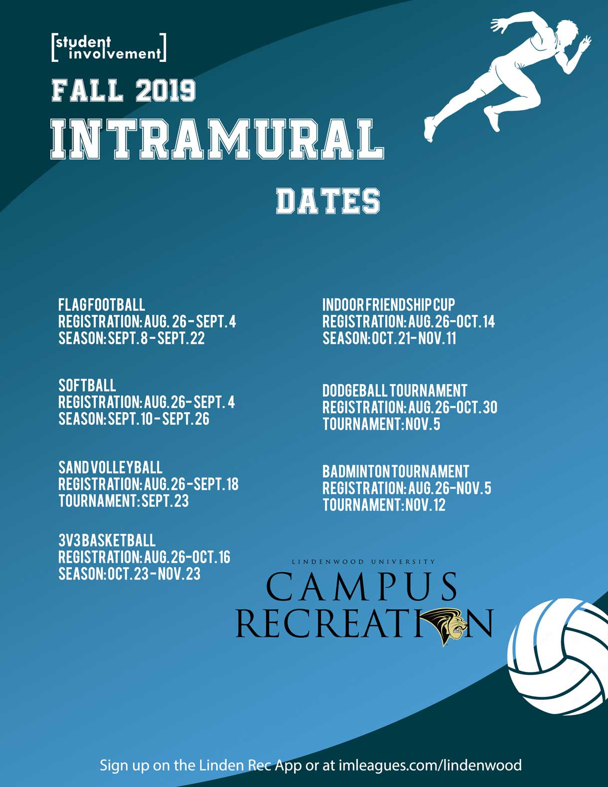 Fall 2019 Intramural Dates Graphic