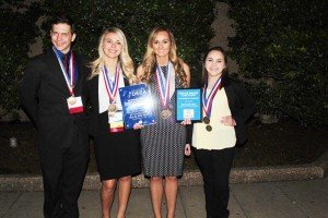Lindenwood University award winners at the 2018 International Competition in Washington, D.C. are pictured as follows (left to right):  Jonathan Dunlop, Carli Gogol, Savannah Bice, and Jamie Greco.