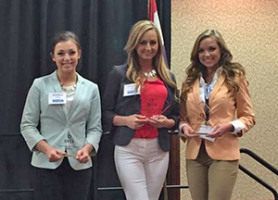 Lindenwood DECA students Alison Bowles, Savannah Bice, and Madison Soots